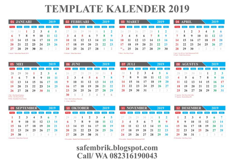 download template kalender 2019 editabel coreldraw kumparan. Black Bedroom Furniture Sets. Home Design Ideas