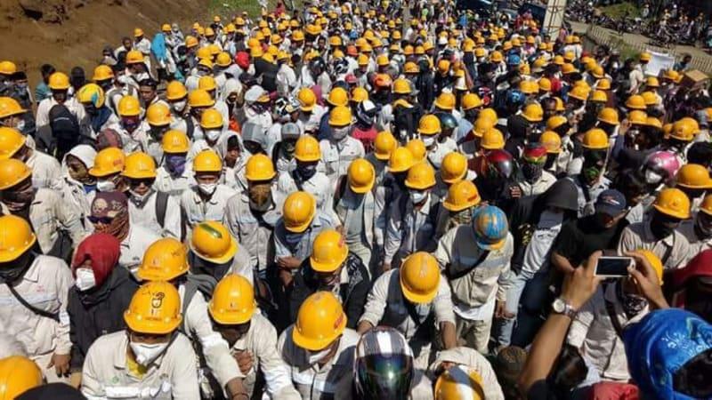 Demo pekerja di Fatufia, Bahodopi, Morowali