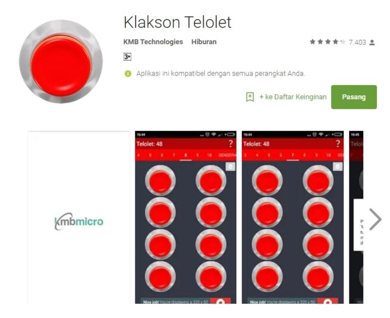 Aplikasi Klakson Telolet di Google Play Store