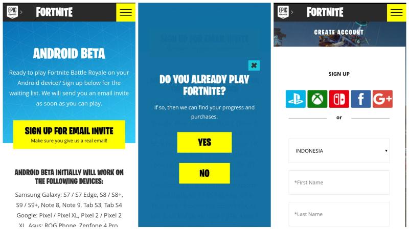 Tahapan instal Fortnite di Android