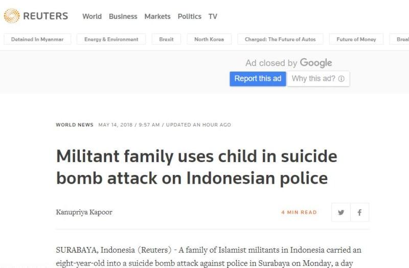 Berita bom di Reuters.