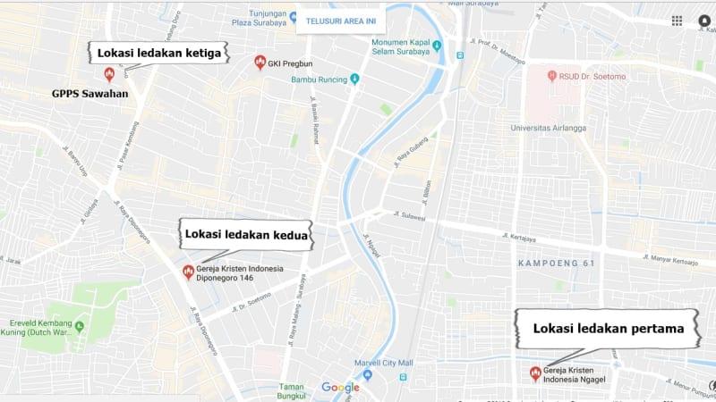 3 lokasi gereja yang dibom di surabaya
