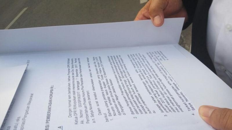 Surat DPR Kepada KPK