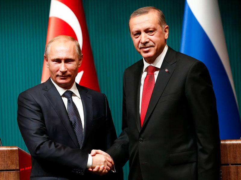 Presiden Rusia Vladimir Putin dan Presiden Turki Recep Tayyip Erdogan