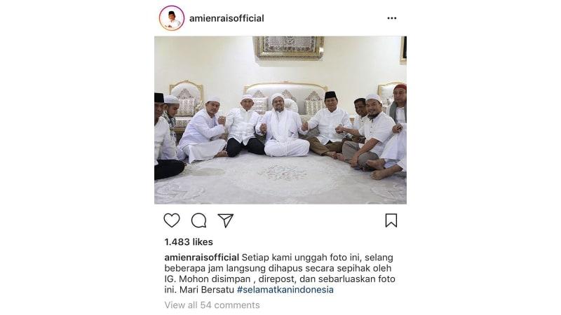 Instagram Hapus 3 Postingan Amien Rais soal Bertemu Rizieq dan Prabowo