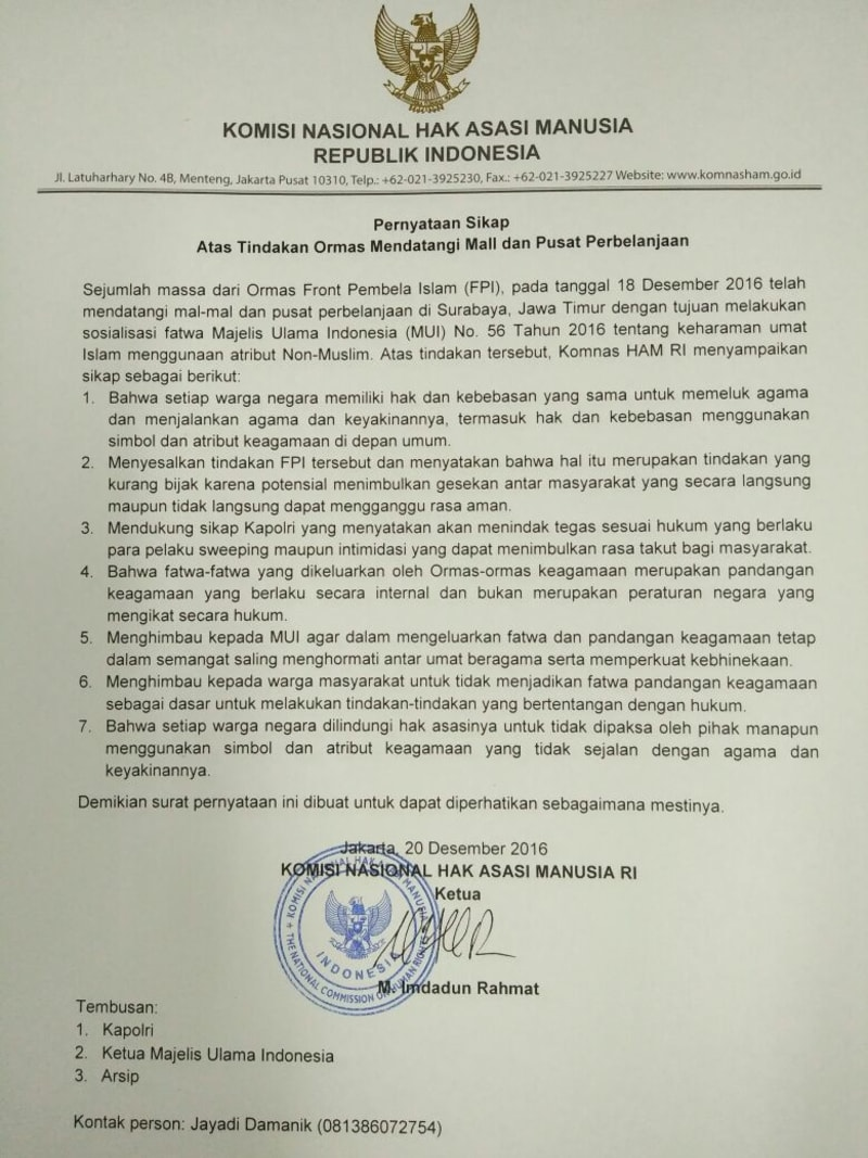 Pernyataan Sikap Komnas HAM atas Tindakan Ormas