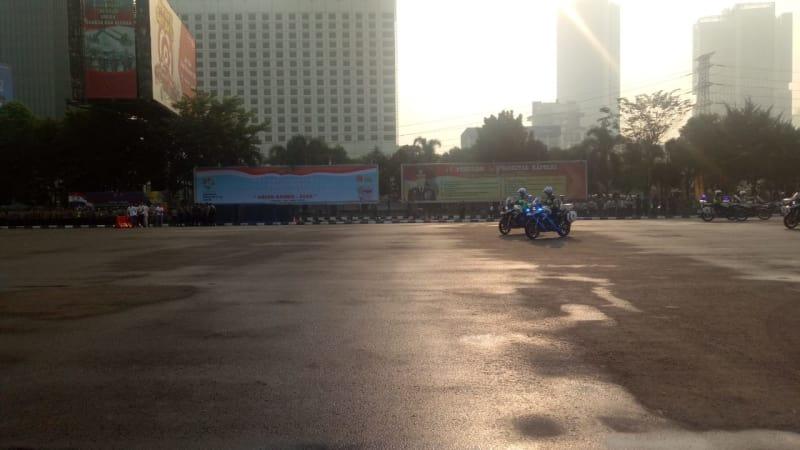 Suasana apel among raga Pam Asian Games di Polda Metro Jaya