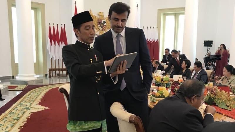 Jokowi dan Emir Qatar di Istana