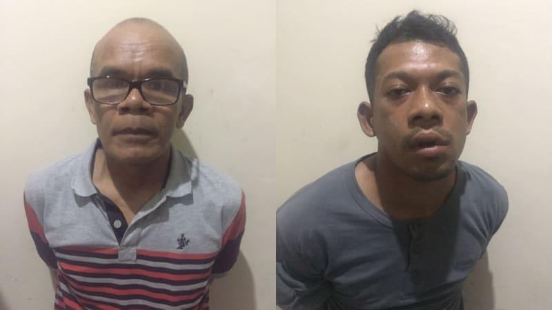 Dua orang tersangka pembunuhan Pasutri. EK dan SU