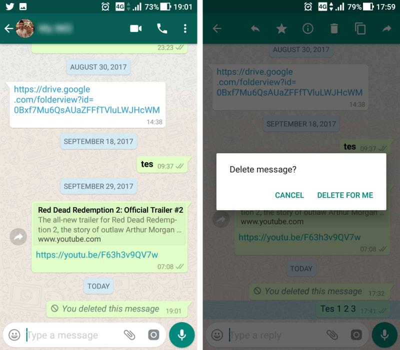 Fitur Hapus Pesan Salah Kirim WhatsApp
