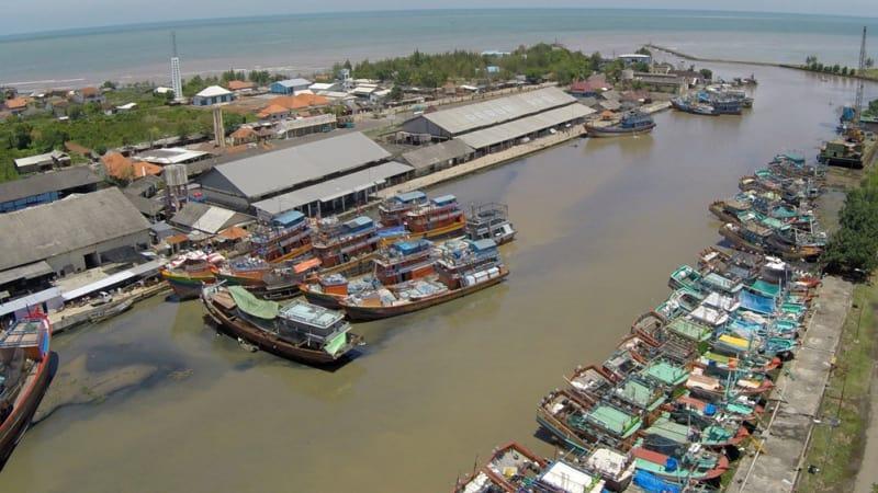 Suasana tempat pelelangan ikan di PPN pekalongan