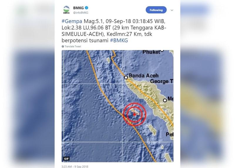 Gempa di Kabupaten Simelulu, Aceh. (Foto: Twitter/@infoBMKG)
