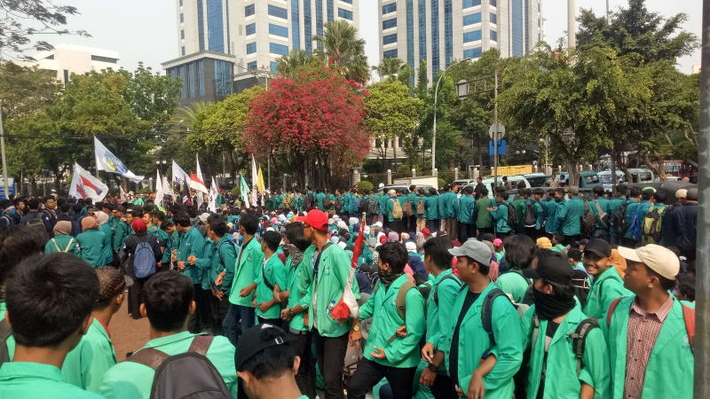 Demonstrasi Dollar, Unjuk Rasa, Mahasiswa, Gedung Kementerian Keuangan, Sri Mulyani