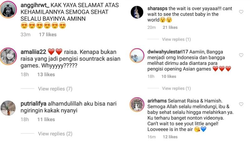 Komentar netizen tentang kehamilan Raisa