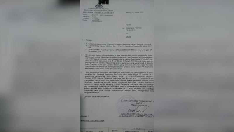 Surat pemanggilan Sandiaga oleh  Polda Metro Jaya