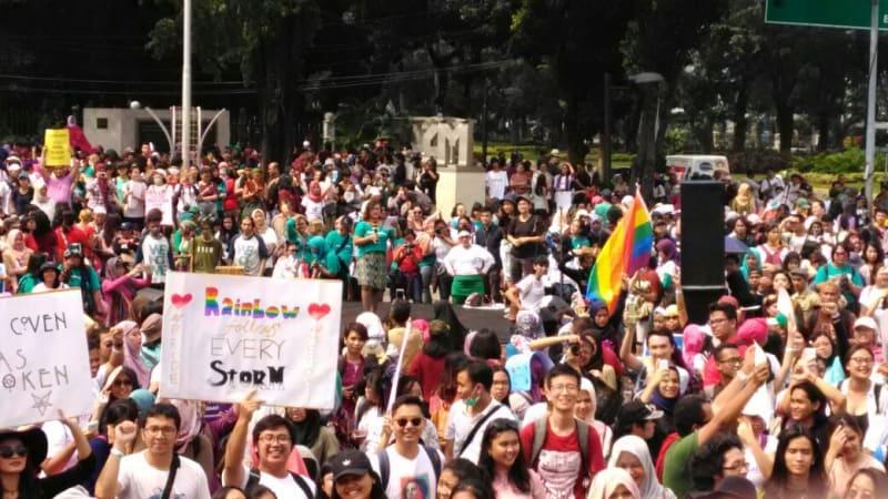 Aksi Women's March di Taman Aspirasi Monas
