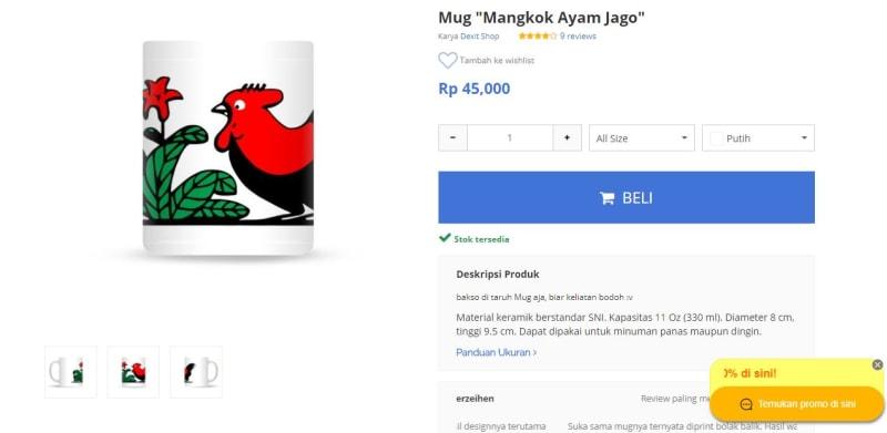 Mug Lukisan Ayam Jago