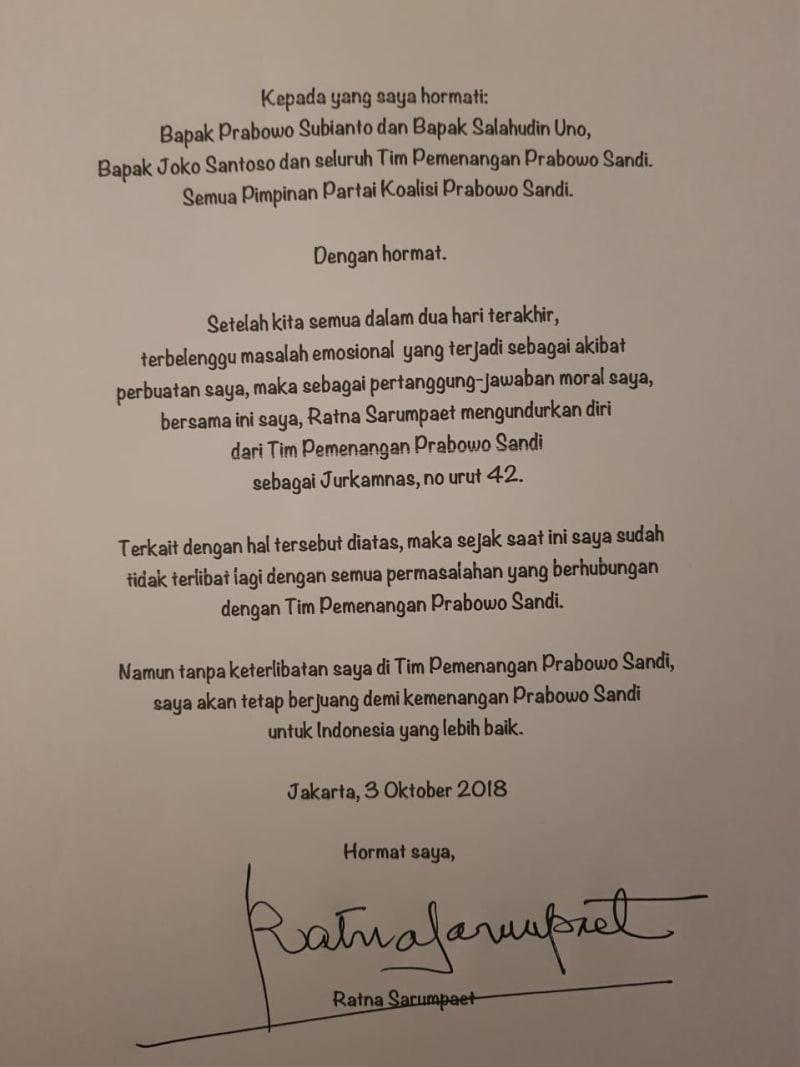 Surat Pengunduruan Diri Ratna Sarumpaet Dari Timses Prabowo-Sandi [NOT COV]