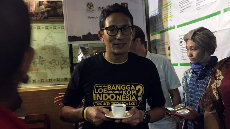 Sandiaga Uno di Sipirock Coffee.