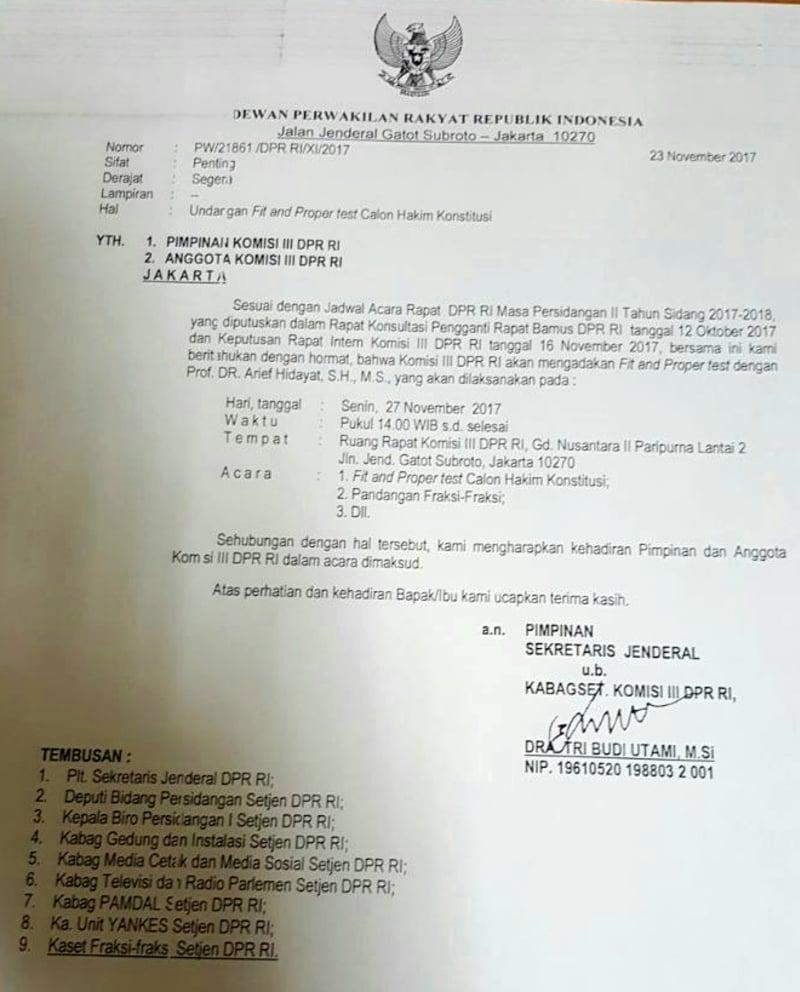 Surat undangan fit and proper test hakim MK