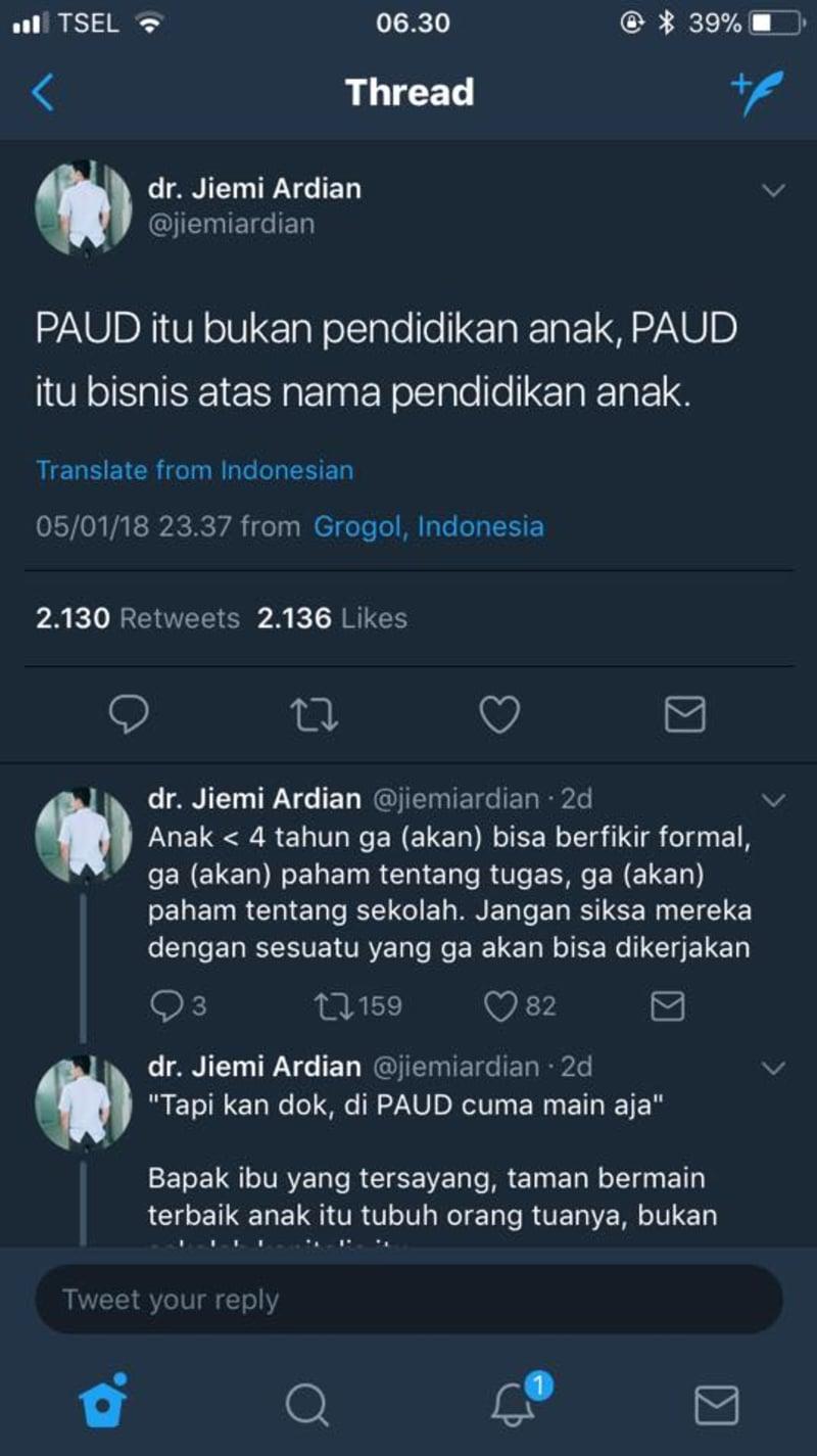 Cuitan dokter Jiemi Ardian tentang PAUD