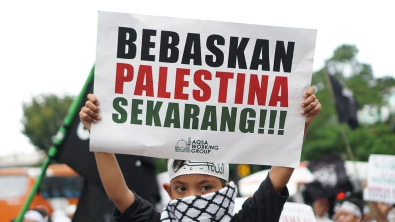Aksi dukung Great Return March Palestina.