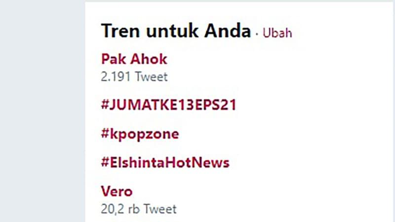Trending Topics Twitter, Ahok dan Vero