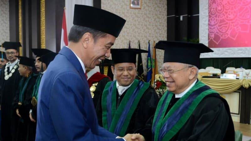 Jokowi di Pengukuhan Guru Besar KH Ma'aruf Amin