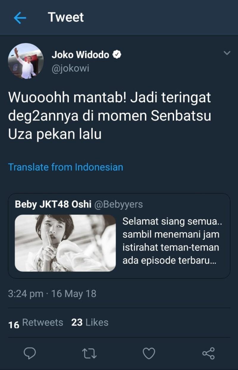 Akun Twitter Jokowi Berkicau soal JKT48, Lalu Twitnya Dihapus