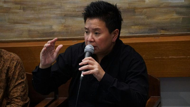 Monica dalam diskusi media di Cikini