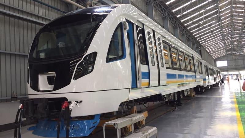 Kereta LRT Palembang produksi PT INKA.