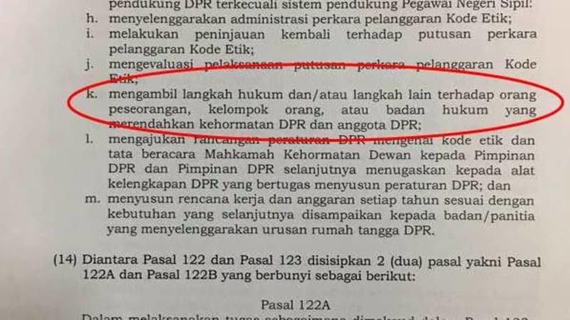 Ayat k Pasal 122 UU MD3 DPR