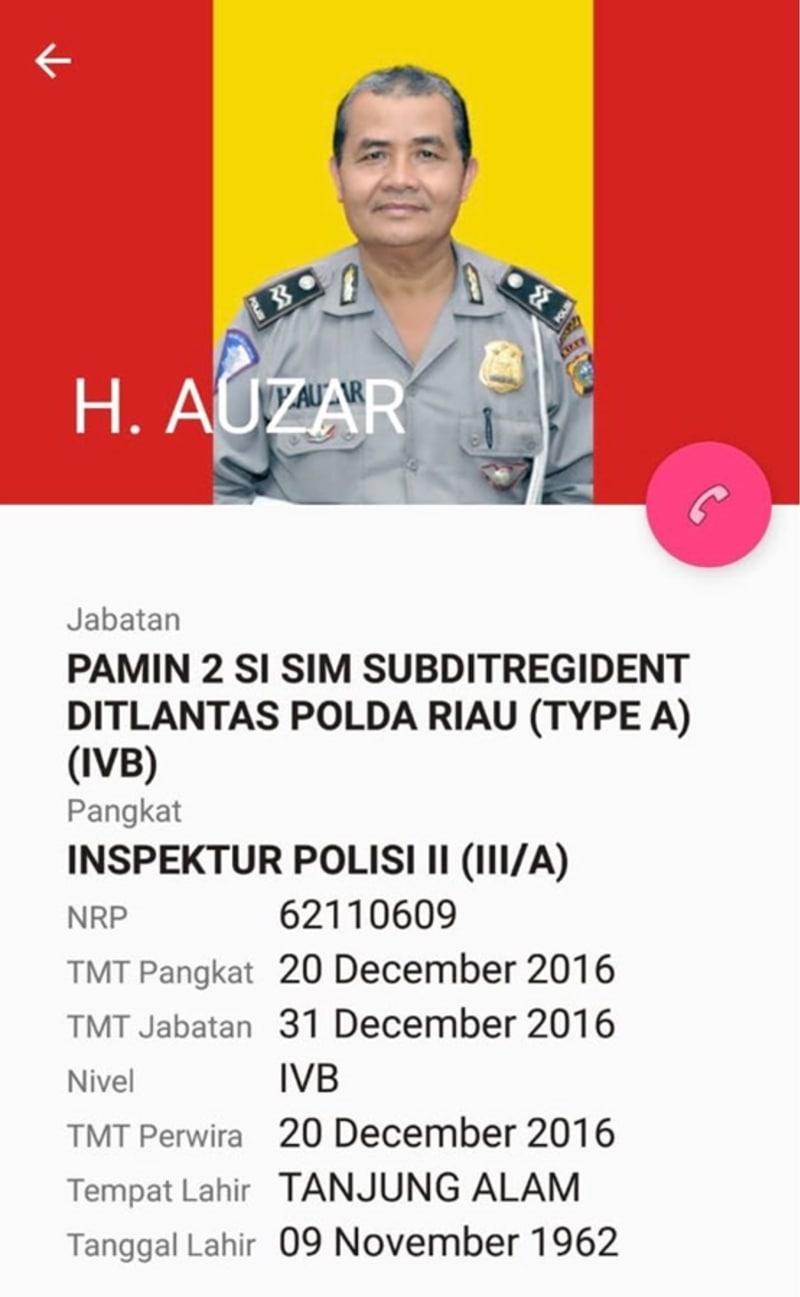 Ipda Auzar, polisi korban teror di Mapolda Riau.