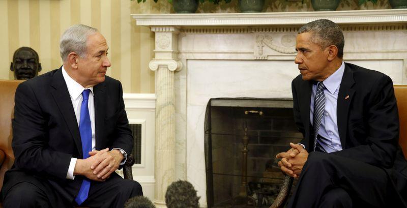 Presiden Israel Benjamin Netanyahu dan Presiden Amerika Serikat Barack Obama