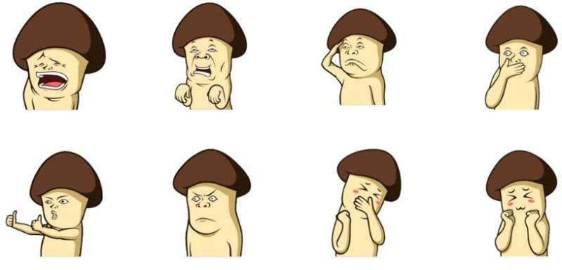 com-Sticker Mushroom Family