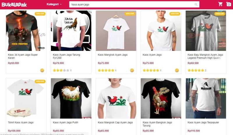 Kaus dengan gambar Lukisan Ayam Jago