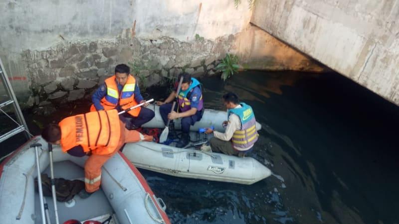 Petugas damkar memancing buaya di Kali Angke