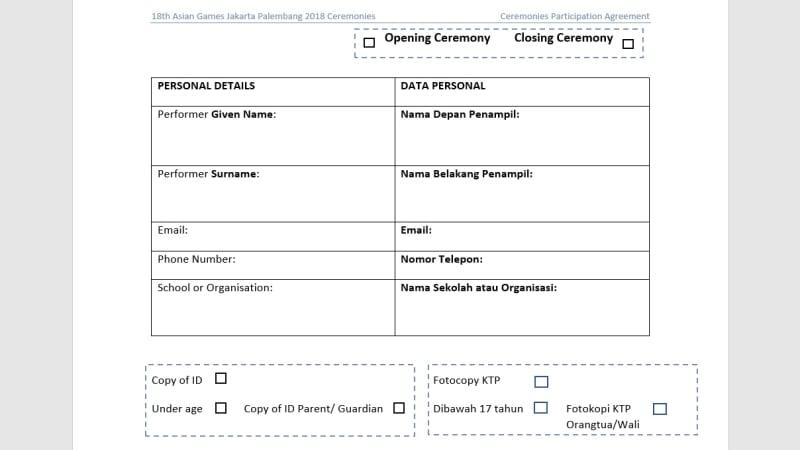 Surat perjanjian relawan dan pihak Asian Games.