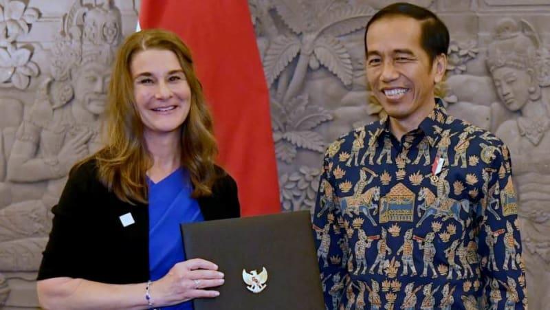 Jokowi dan Melinda Gates di Nusa Dua, Bali
