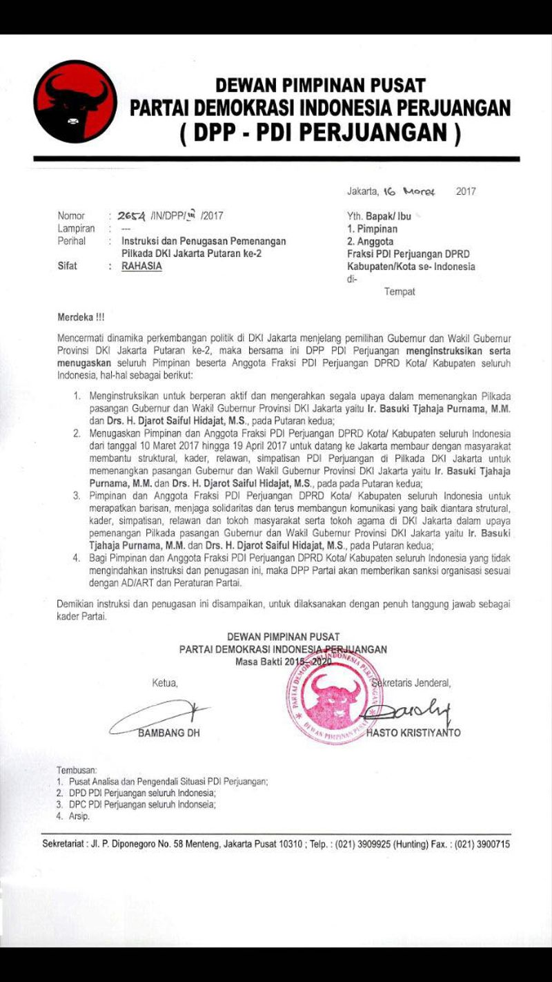 Instruksi DPP PDIP untuk Pemenangan Ahok-Djarot