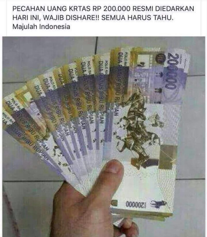 Pecahan uang kertas Rp 200 ribu