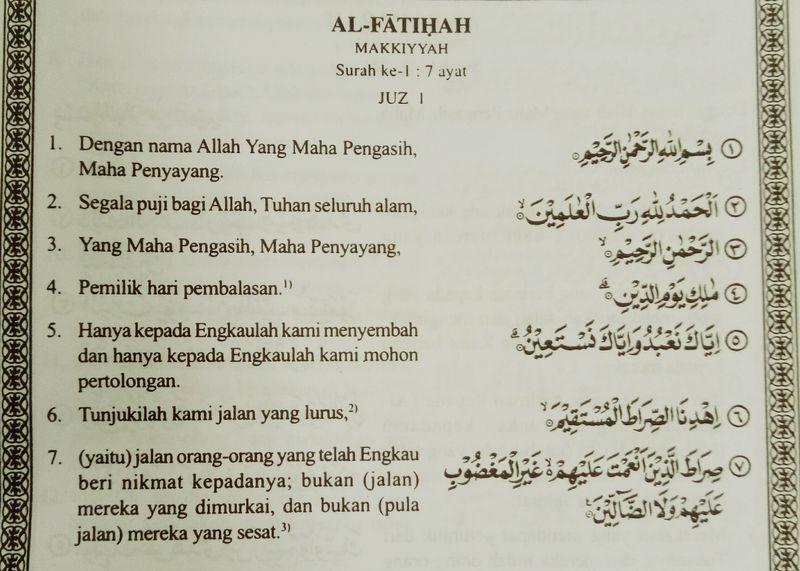 Al-Fatihah Terjemahan Bahasa Indonesia