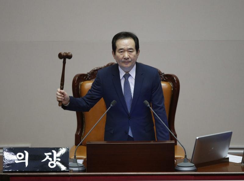 Juru Bicara Majelis Nasional Korea Chung Sye-kyun Mensahkan Pemakzulan Presiden Park