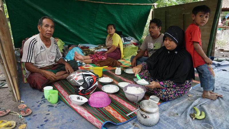 Korban Gempa Lombok, Dusun Wadon, Desa Kekait, Kecamatan Gunung Sari, Kabupaten Lombok Utara, NTB