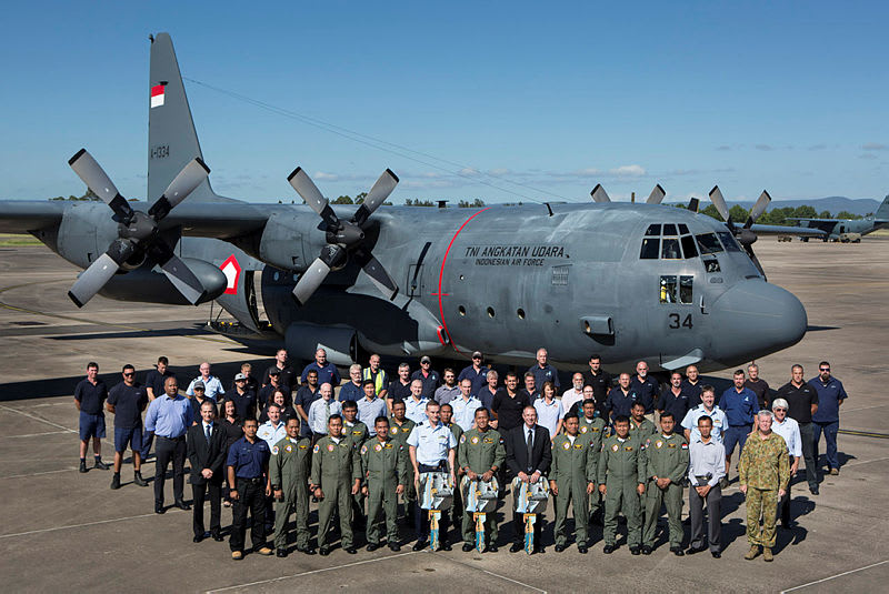 Pesawat Hercules milik TNI AU saat diserahterimakan dari RAAF Australia.