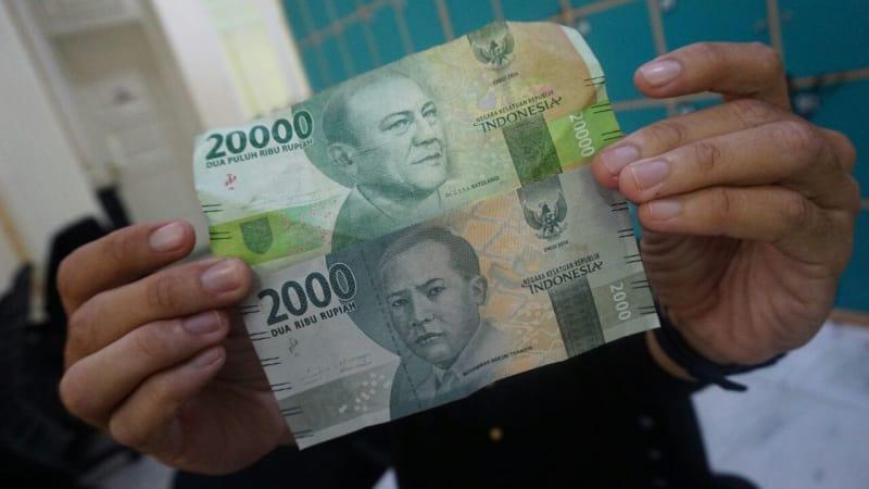 Ilustrasi uang pecahan Rp 20.000 dan Rp 2.000