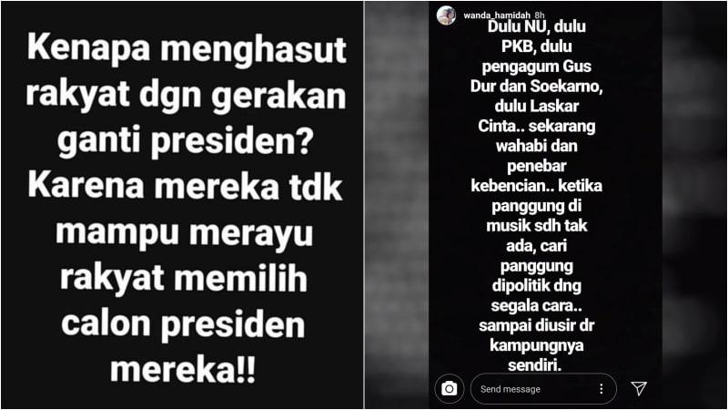 Unggahan Wanda Hamidah di Instagram Story