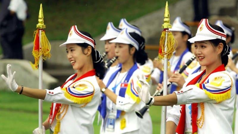 Cheerleader Korut saat Universiade di Daegu Korsel