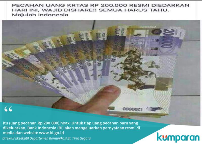 Pecahan mata uang baru  Rp 200.000