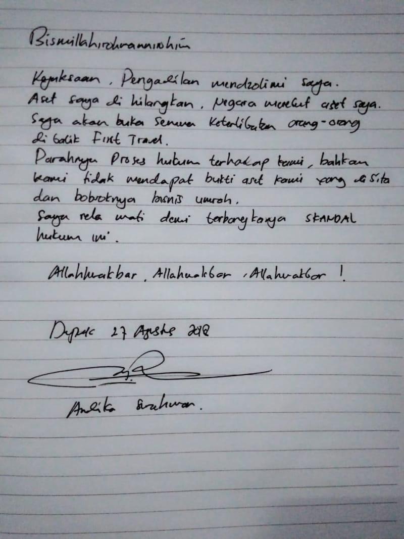 Surat tangan bos First Travel, Andika Surachman